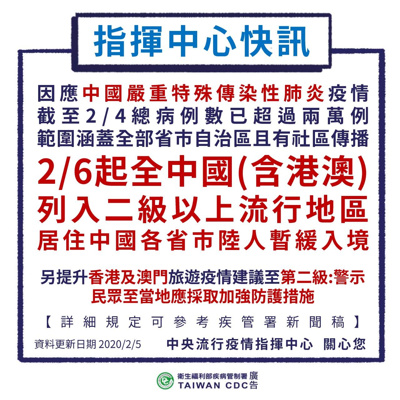 居住中國各省市陸人暫緩入境(照片來源:疾病管制署)
