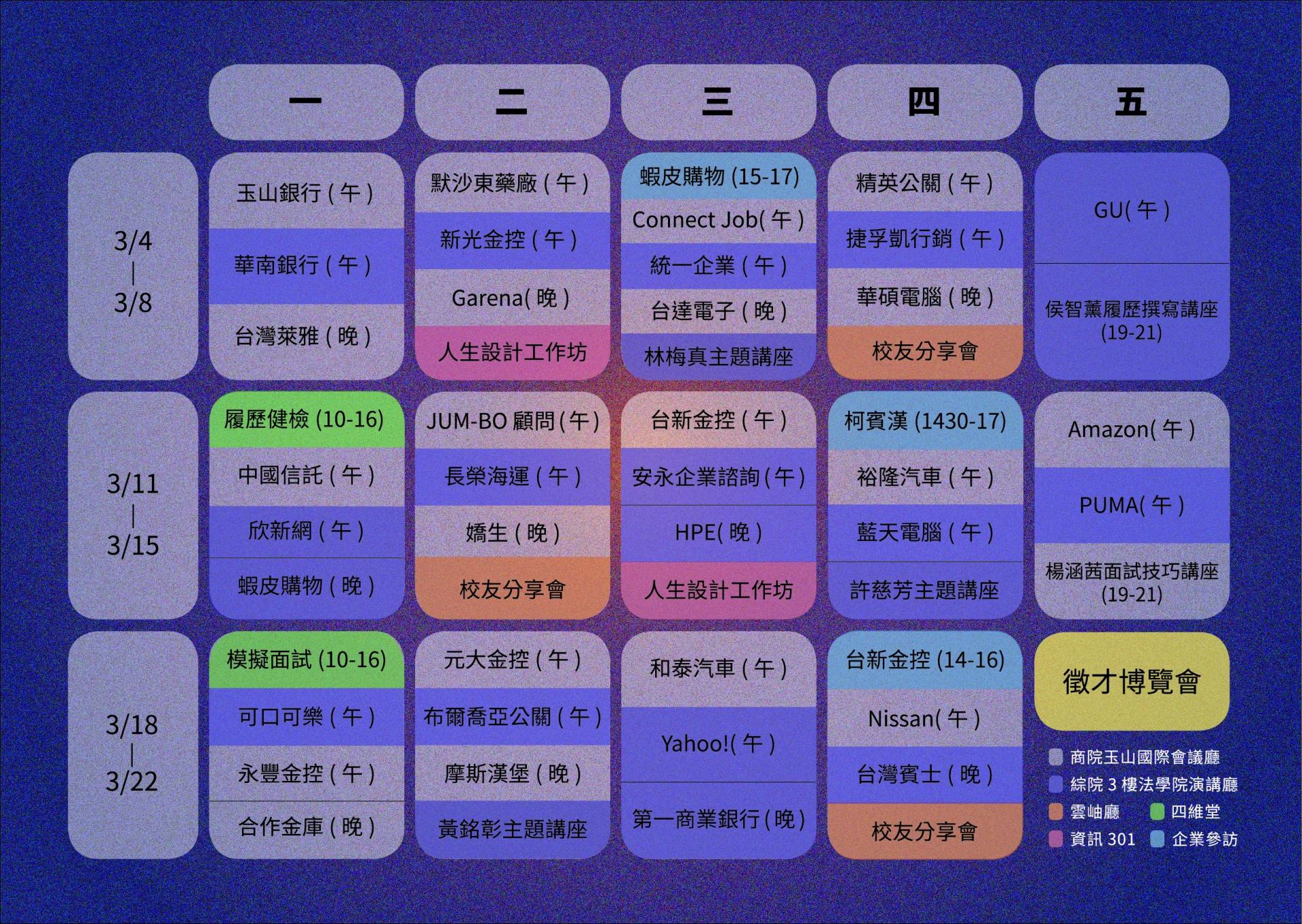 2019 政大校園徵才月相關活動